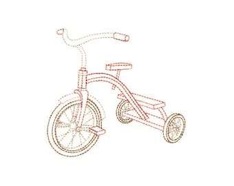 Open Outline Stitch Tricycle Embroidery Design - Instant Digital Download