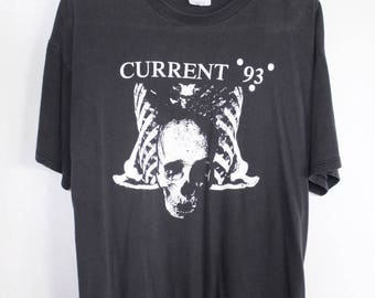 Current 93 shirt 1988 vintage t shirt Neofolk band t-shirts experimental industrial 80s goth clothing Death in June Coil dark wave