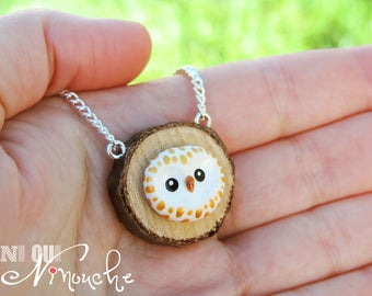 Gold OWL necklace log necklace chain (fimo) small cute OWL gold head