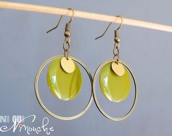 Earrings khaki green enamelled sequin Golden pastille and bronze round circle vintage retro