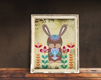 Boho Bunny   Bohemian Nursery, Tribal Nursery, Tribal Baby Room, Immediate Download, Printable Poster   Bohemian Animal, Baby Animals