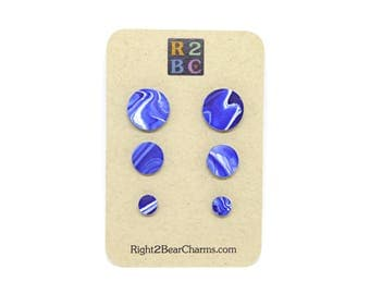 Blue and White Marble / Fake Ear Plugs / Small Stud Earrings / Blue Stud Earrings / Stainless Steel Stud Earrings / Navy Blue Earrings