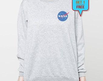 Nasa sweatshirt shirt pocket graphic sweater tshirt tee jumper t-shirt long sleeve S M L XL grey