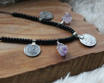 Amethyst Kuchi tribal Gypsy necklace