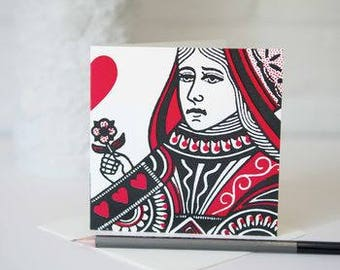 Queen Of Hearts Card by VINTAGE PLAYING CARDS