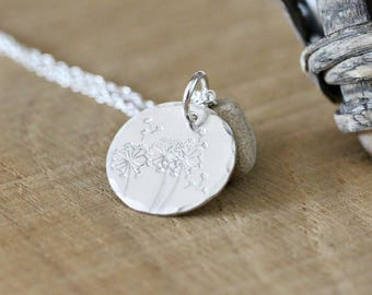 Sterling Silver Field Of Wishes Necklace, Dandelions, Dandelion