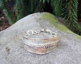 One of a Kind Bracelet,Sterling Silver Zipper Bracelet,Unique Bracelet,Fun Sterling Silver Bracelet,Chunky Bracelet,Gift for Sewer,Boho gift