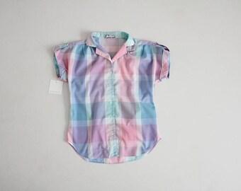 pastel plaid blouse | 70s plaid blouse | pink and blue plaid blouse