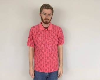 90s Eddie Bauer Pink Tribal Polo Shirt size LARGE ~ 15506