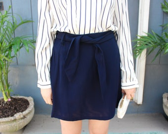 Vintage Lightweight Formal Navy Blue Mini Skirt with Tie Belt