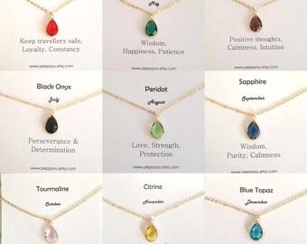 Birthstone Necklace, Garnet Necklace, Emerald Necklace, Black Onyx Necklace, Peridot Necklace, Sapphire Necklace, Custom Birthstone Necklace