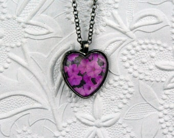 Heart-shaped Gunmetal Photo Pendant with Impatiens Image