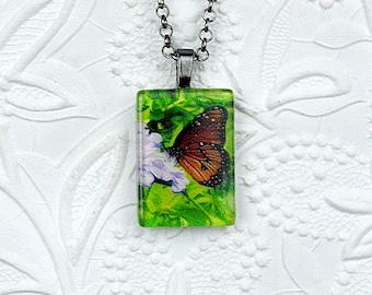 Butterfly Nibbling Flower Photo Pendant Monarch Butterfly Necklace Butterfly Jewelry Photo Necklace