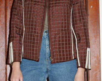 Reversible Cropped Quilted Zipper Jacket