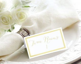 Gold Foil Elegant Border Flat or Tented Handmade Wedding Place / Escort / Name Cards, Also Available in Rose Gold and Silver