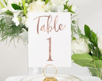 Rose Gold Foil Modern Script Table Numbers, Custom Handmade Wedding, also Available in Copper, Silver, or Gold Foil #0138