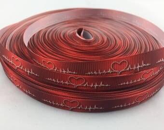 """Medical ribbons, ecg Grosgrain Ribbon, ecg ribbons. Available in 3/8"""" grosgrain ribbons"""