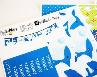 Shark Week Weekly Sticker Kit for use with EC LifePlanner™/Happy Planners