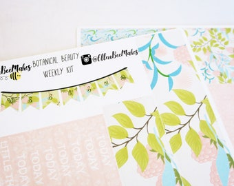 Botanical Beauty Weekly Sticker Kit for use with EC LifePlanner™/Happy Planners