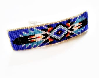 Beaded Hair Barrette- Beaded Hair Accessory- Beaded Hair Clip-  Native American Inspired Beadwork- Bohemian Hair Clip- Fashion Accessories
