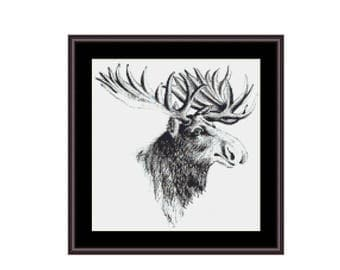 Moose Counted Cross Stitch Pattern / Chart,  Instant Digital Download (AP183)