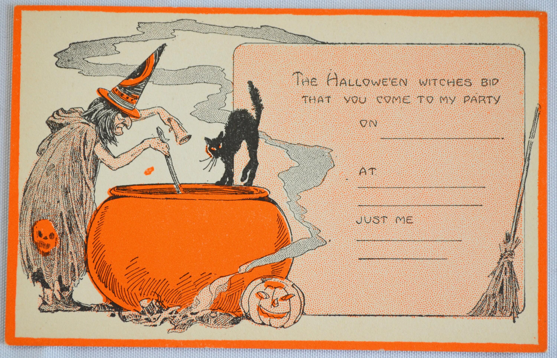 Halloween postcard invitation greetings card witch black cat halloween postcard invitation greetings card witch black cat orange jol kristyandbryce Images