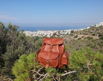 Leather Backpack,FULL GRAIN Leather Rucksack. LARGE Size.