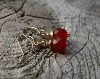 Carnelian//14K Gold Fill Earrings