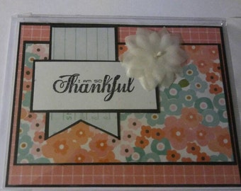 Thankful greeting card, thank you card, handmade card, gift under 5 dollars, floral card, papercrafts, cardstock cards