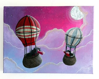 Acrylic painting, Hot-air balloon painting, 18x24 cm canvas, Kids room decor, Christmas gift, Babyshower gift, Babyshower painting, Decor