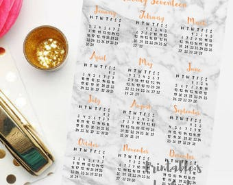 2017 Modern Printable Calendar - Copper Writing / Marble Background