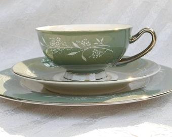 Mid-Century Modern Syracuse Candlelight Sage Green 3-Piece Tea Set