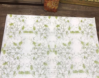 Vintage Pillowcase Green Floral Percale