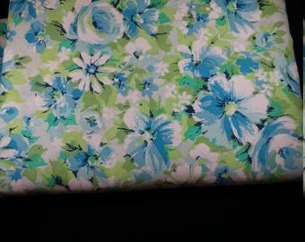 marvelaire by springmaid double full flat sheet muslin blue floral very good