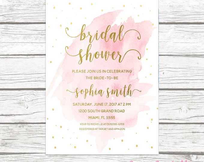 Bridal Shower Invitation, Watercolor Bridal Shower Invitation, Pink Bridal Shower Invitation, Pink and Gold Invitation, Printable Invite