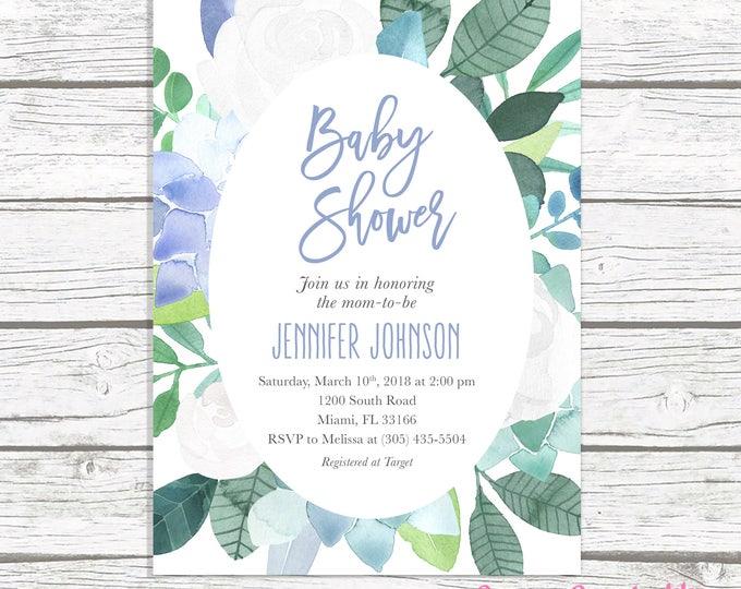 Blue Baby Shower Invitation, Baby Shower Invitation Boy, Succulent Baby Shower Invite, Floral Baby Shower, Leaves Printable Invitation