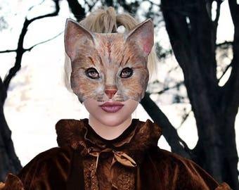 Cat    paper mask   Masquerade Cat mask Paper mache Mask  Animal mask  Papier mache Cat mask Papier mache Adult mask