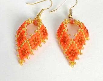 Seed bead earrings Orange earrings Beaded jewelry Leaf earrings Beadwork earrings Boho earrings Rustic earrings - MADE TO ORDER
