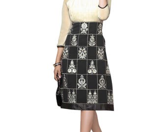 Indian Pakistani Bollywood Designer Black & Off White Color 60 Gm Georgette Kurti For Women Ethnic Dress Tunic Top