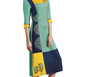 Indian Pakistan Bollywood Designer Kurti Designer Women Ethnic Light Green & yellow Colored Modal kurtis Top Tunic Kurta women kurti top