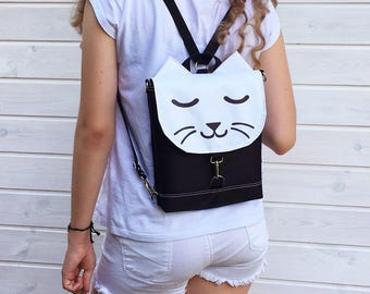 Black Kitty Waterproof Backpack, Vegan Cat Rucksack, Waterproof Backpack, Mini Crossbody Bag, Toddler Backpack, Festival Bag, Hello Kitty