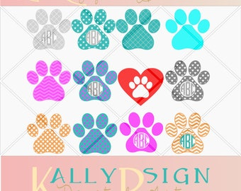 pet svg, paw print svg, monogram svg, monogram svg bundle, dog svg, cat svg, feet paws, svg files, svg files for cricut