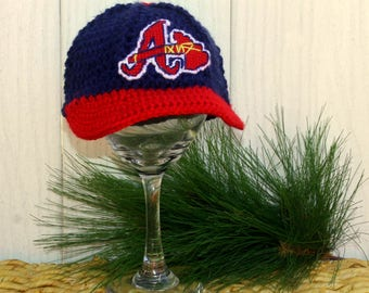 Baby BASEBALL Hat, Kids Ball Cap, Atlanta BRAVES baby hat (Handmade by me and not affiliated with the MLB)