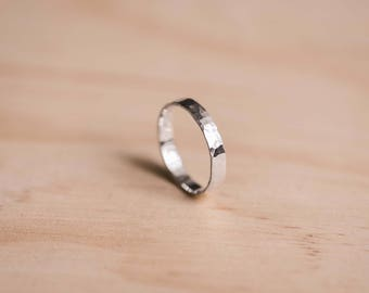 Hammered Argentium Silver Ring - 100% Recycled Argentium Silver