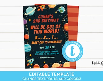 Space Birthday Invitation - Outer Space Birthday Party - Rocket Ship Birthday Party - Outer Space Party - Printable Birthday Invitation Boy