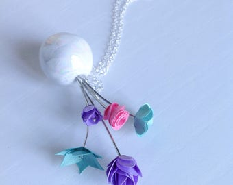 Pretty Little Bouquet Pendant in Turquoise Purple and Pink