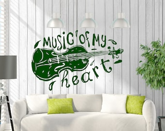 Wall Art Mural Words Cloud Music of My Heart Living Room Decor Decal (#2505dz)