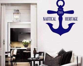 Wall Vinyl Decal Sea Ocean Nautical Anchor Decor for Ship and Yacht (#2699dn)