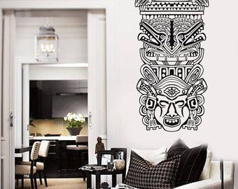 Wall Vinyl Decal North American Totem Poles  Ethnic Home Decor (#2725dn)