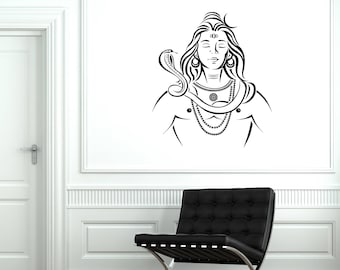 Lord Shiva Vinyl Wall Decal Hinduism Hindu Religion India Decor Art Stickers Mural (#2644di)